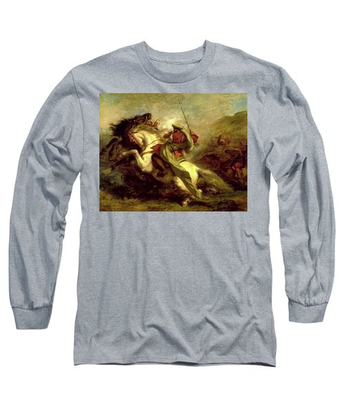 Long Sleeve T-Shirt featuring the painting Collision Of Moorish Horsemen by Eugene Delacroix