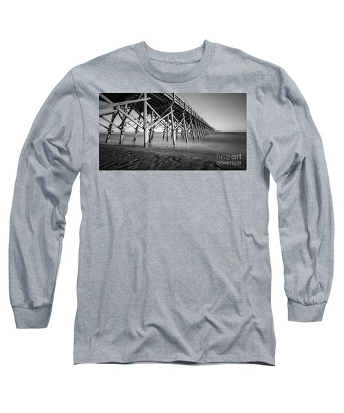 Folly Beach Pier Black And White Long Sleeve T-Shirt