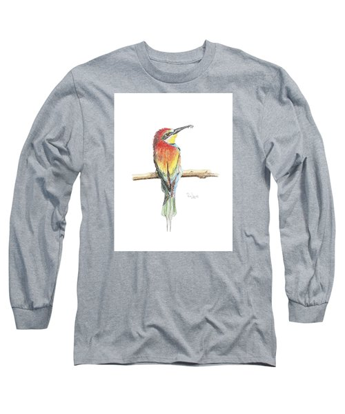 Long Sleeve T-Shirt featuring the painting Gruccione - Bee Eater - Merops Apiaster by Raffaella Lunelli