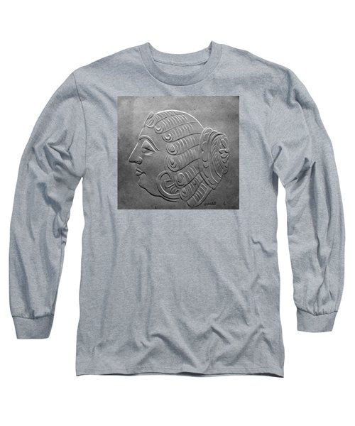 Long Sleeve T-Shirt featuring the relief Head by Suhas Tavkar