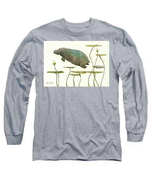 Hippo Mom With Baby Long Sleeve T-Shirt