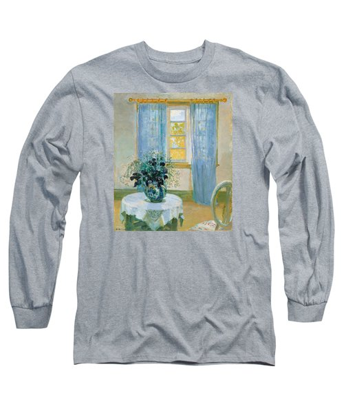 Interior With Clematis Long Sleeve T-Shirt by Anna Ancher