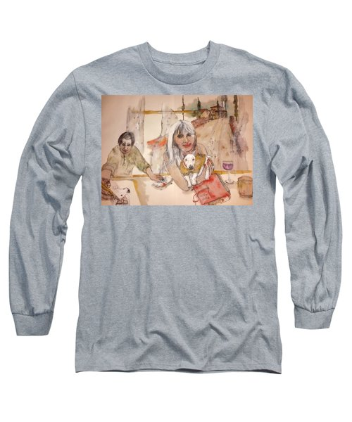 Long Sleeve T-Shirt featuring the painting Italy Love Life And  Linguini Album by Debbi Saccomanno Chan