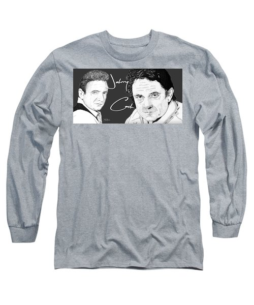 Johnny Cash Long Sleeve T-Shirt by Bill Richards