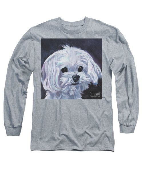 Long Sleeve T-Shirt featuring the painting Maltese by Lee Ann Shepard