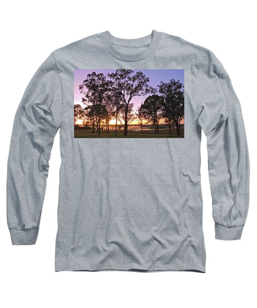 Misty Rural Scene With Dam And Trees Long Sleeve T-Shirt