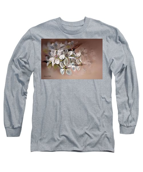 Long Sleeve T-Shirt featuring the painting Oriental Pear Blossom by Bonnie Willis