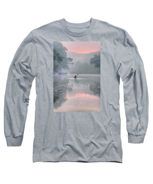 Paddling In Mist Long Sleeve T-Shirt by Robert Charity