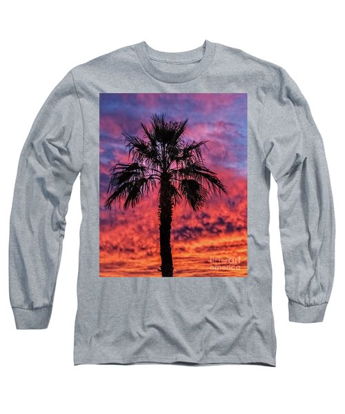 Long Sleeve T-Shirt featuring the photograph Palm Tree Silhouette by Robert Bales