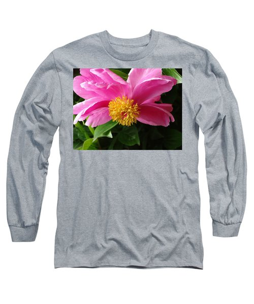 Pink Peony Long Sleeve T-Shirt by Rebecca Overton