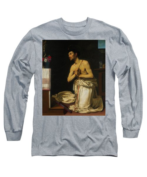 Long Sleeve T-Shirt featuring the painting Saint Dominic In Penitence by Filippo Tarchiani