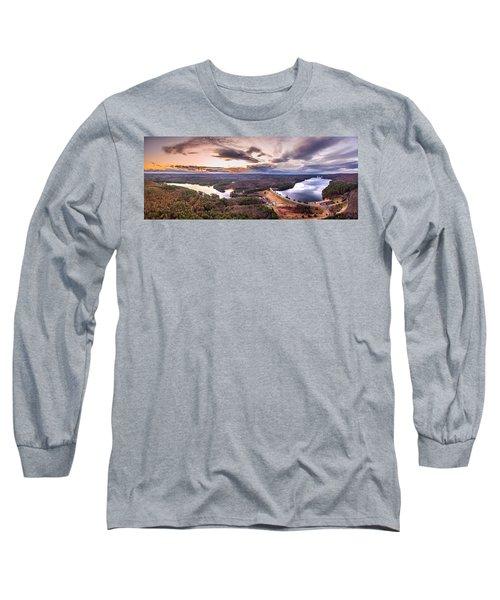 Sunset At Saville Dam - Barkhamsted Reservoir Connecticut Long Sleeve T-Shirt by Petr Hejl