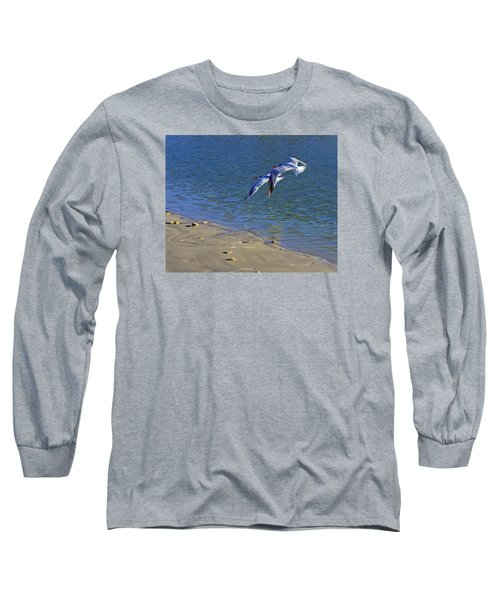 Long Sleeve T-Shirt featuring the photograph 2 Terns In Flight by Robb Stan
