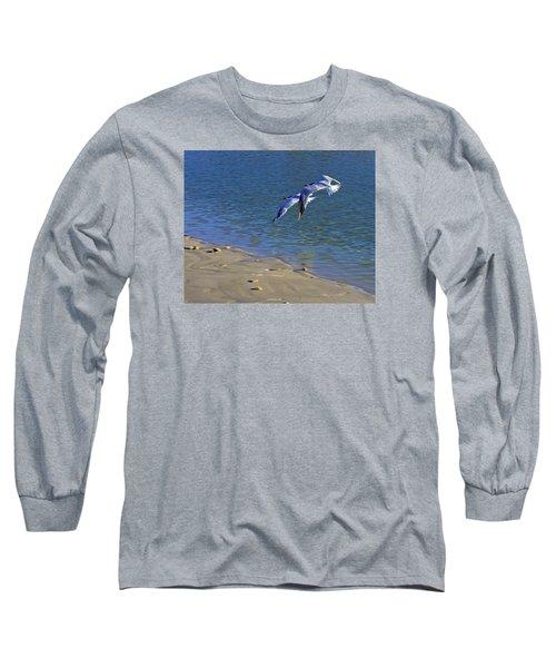 2 Terns In Flight Long Sleeve T-Shirt by Robb Stan