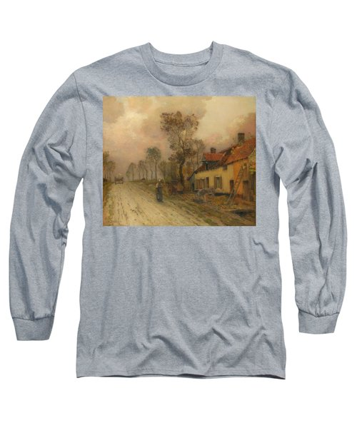 Long Sleeve T-Shirt featuring the painting The Route Nationale At Samer by Jean-Charles Cazin