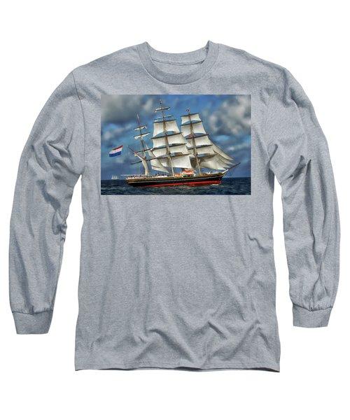Three Mast Schooner Long Sleeve T-Shirt by Anthony Dezenzio