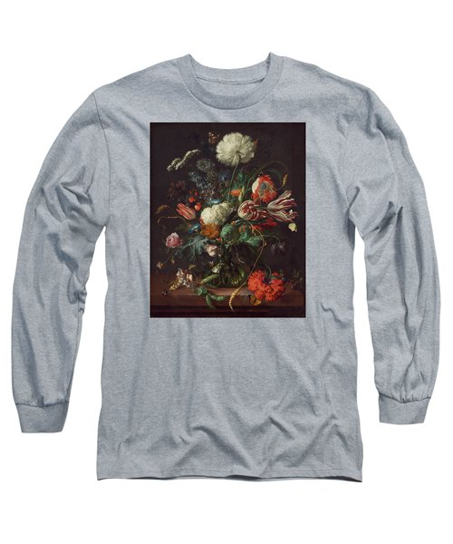 Vase Of Flowers Long Sleeve T-Shirt by Jan Davidsz de Heem