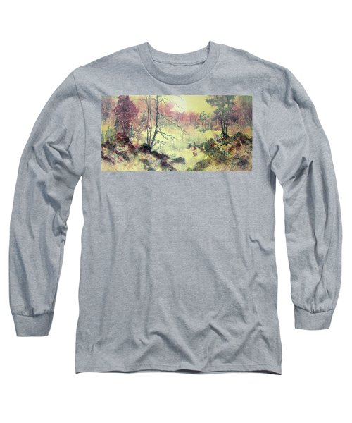 Long Sleeve T-Shirt featuring the painting Woods And Wetlands by Carolyn Rosenberger