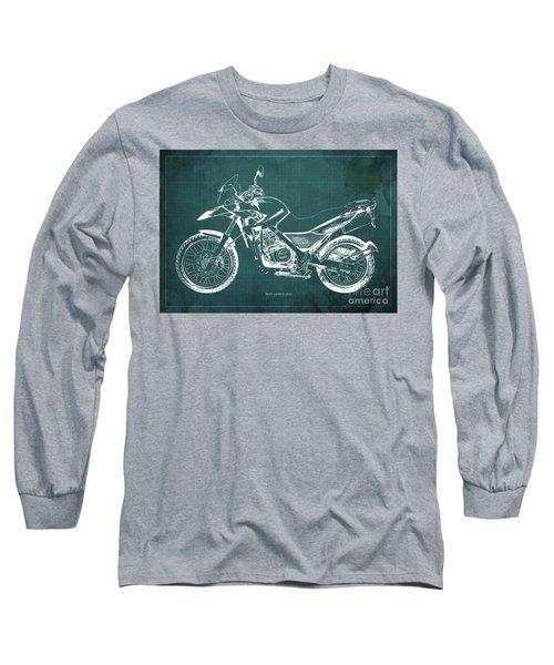 2010 Bmw G650gs Vintage Blueprint Green Background Long Sleeve T-Shirt