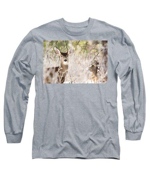 Herd Of Mule Deer In Deep Snow Long Sleeve T-Shirt