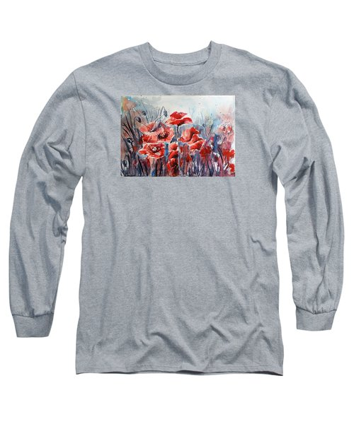 Poppies Long Sleeve T-Shirt by Kovacs Anna Brigitta