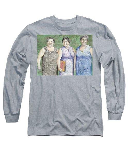 Long Sleeve T-Shirt featuring the drawing 3 Sisters by Albert Puskaric