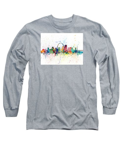 St Louis Missouri Skyline Long Sleeve T-Shirt by Michael Tompsett