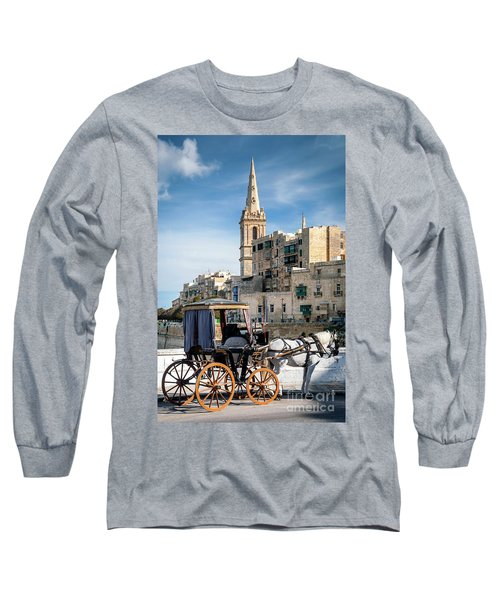 Tourist Horse Carriage In Old Town Street La Valletta Malta Long Sleeve T-Shirt