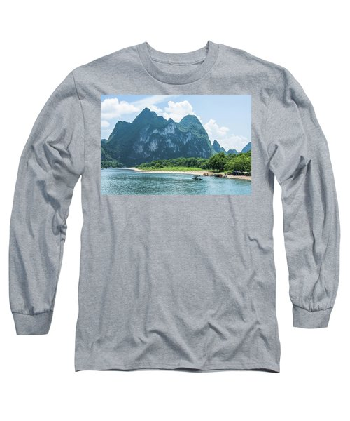 Lijiang River And Karst Mountains Scenery Long Sleeve T-Shirt