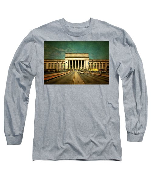 Long Sleeve T-Shirt featuring the mixed media 30th Street Station Traffic by Trish Tritz
