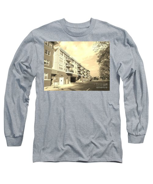 3rd Street Columbus Indiana - Sepia Long Sleeve T-Shirt