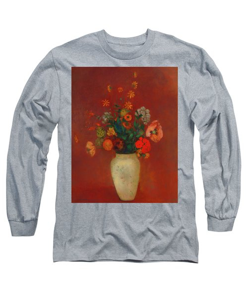 Long Sleeve T-Shirt featuring the painting Bouquet In A Chinese Vase by Odilon Redon