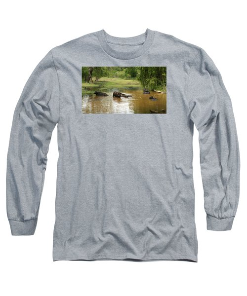 Long Sleeve T-Shirt featuring the photograph Buffalos by Christian Zesewitz