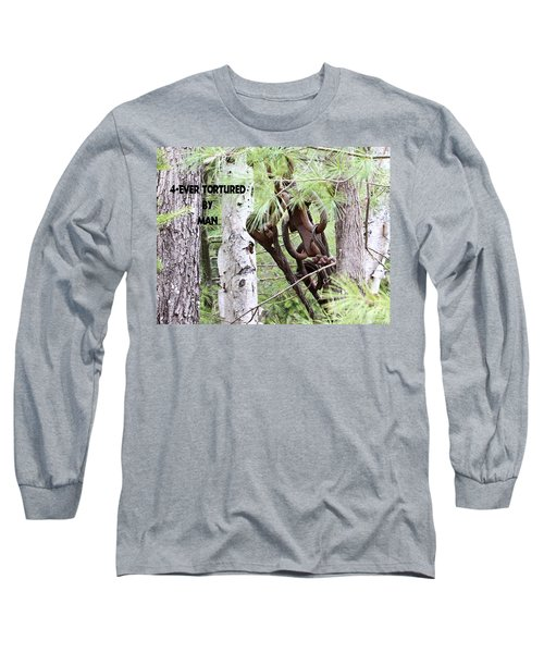 4-ever Tortured By Man Long Sleeve T-Shirt by Debbie Stahre