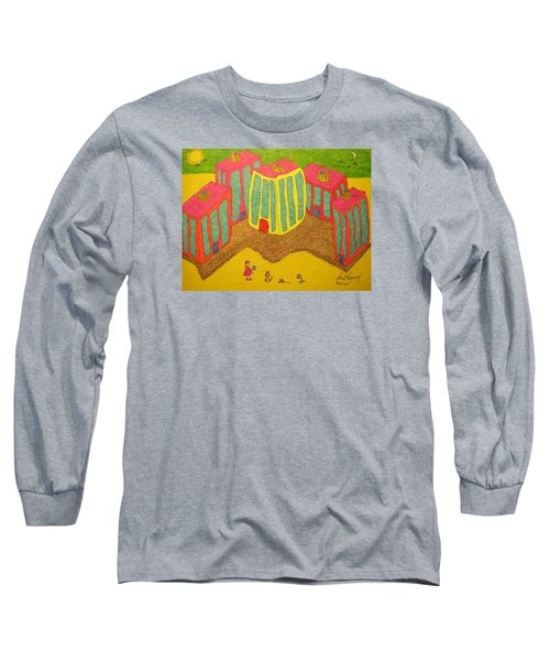 4 Tall Buildings, Girl, And Cat Long Sleeve T-Shirt