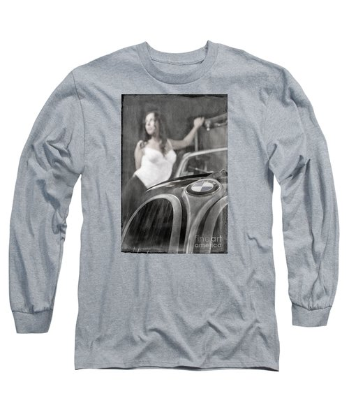 Long Sleeve T-Shirt featuring the photograph The Girl On The Background Of Vintage Car. by Andrey  Godyaykin