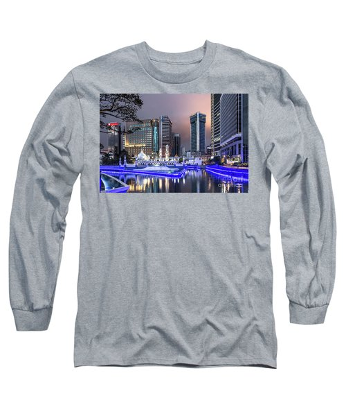 The Office Buildings Reflects In The Water Of The Klang River In Long Sleeve T-Shirt