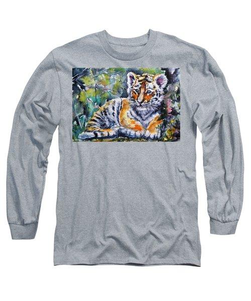 Long Sleeve T-Shirt featuring the painting Tiger Cub by Kovacs Anna Brigitta