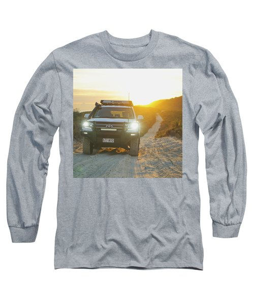 4wd Car Explores Sand Track In Early Morning Light Long Sleeve T-Shirt