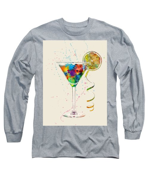Cocktail Drinks Glass Watercolor Long Sleeve T-Shirt