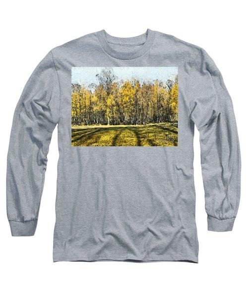 Watercolor Landscape Autumn Painting Forest Long Sleeve T-Shirt