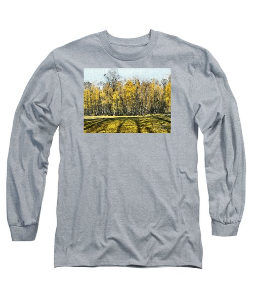 Watercolor Landscape Autumn Painting Forest Long Sleeve T-Shirt