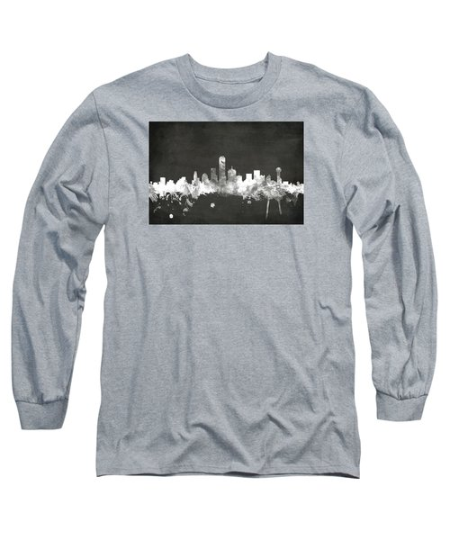 Dallas Texas Skyline Long Sleeve T-Shirt by Michael Tompsett