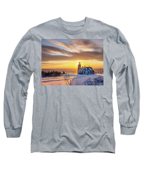 West Quoddy Head Lighthouse Long Sleeve T-Shirt by Trace Kittrell