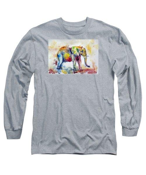 Big Colorful Elephant Long Sleeve T-Shirt