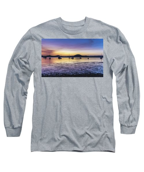 Dawn Waterscape Over The Bay With Boats Long Sleeve T-Shirt