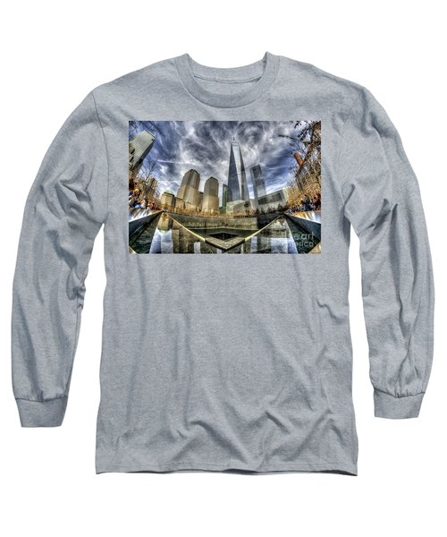Long Sleeve T-Shirt featuring the photograph 9/11 Memorial - Nyc by Rafael Quirindongo