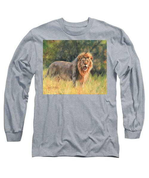 Long Sleeve T-Shirt featuring the painting Lion by David Stribbling