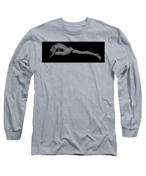 9474 Zebra Stripe Yoga Pigeon Pose Feline Grace Long Sleeve T-Shirt