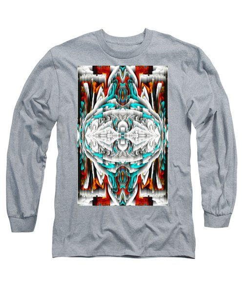 Long Sleeve T-Shirt featuring the digital art 992.042212mirror2ornateredablue-1 by Kris Haas